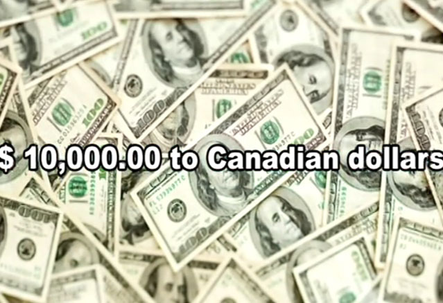 USD $10,000 to CAD Exchange